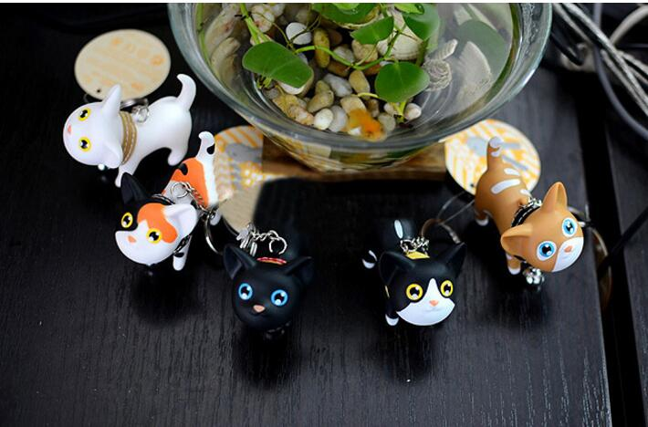 50PCS Multicolor Cute Cute Cat Keychain Animal Dolls Key Chain Baubles Pendant Shake Head Bell for kids Creative Jewelry Gift - 5