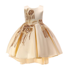 Girls dress Flower Girl Dresses For Wedding Party Front Short Long Back Elegant Satin With Sequined Girl Formal Dresses new sweet flower girl dresses for wedding short front long back satin with tulle appliques straps party bll gown