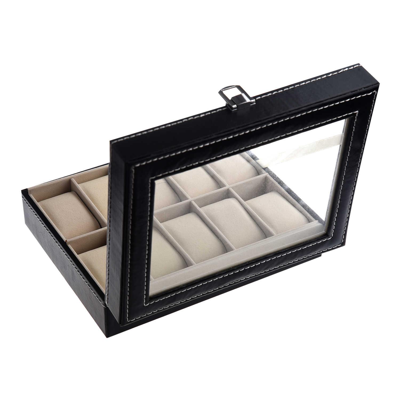 YCYS-TIMETOP витрина для часов, Ювелирная коллекция браслетов с органайзер для хранения коробка из искусственной кожи 10 сетка