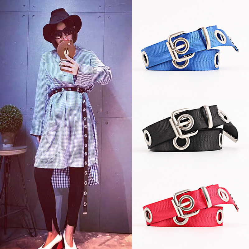 Winfox Fashion Black White Red 2.5cm Wide Female Belt Canvas Women's Harajuku Waistband Metal Buckle Eyelet Belt Waist