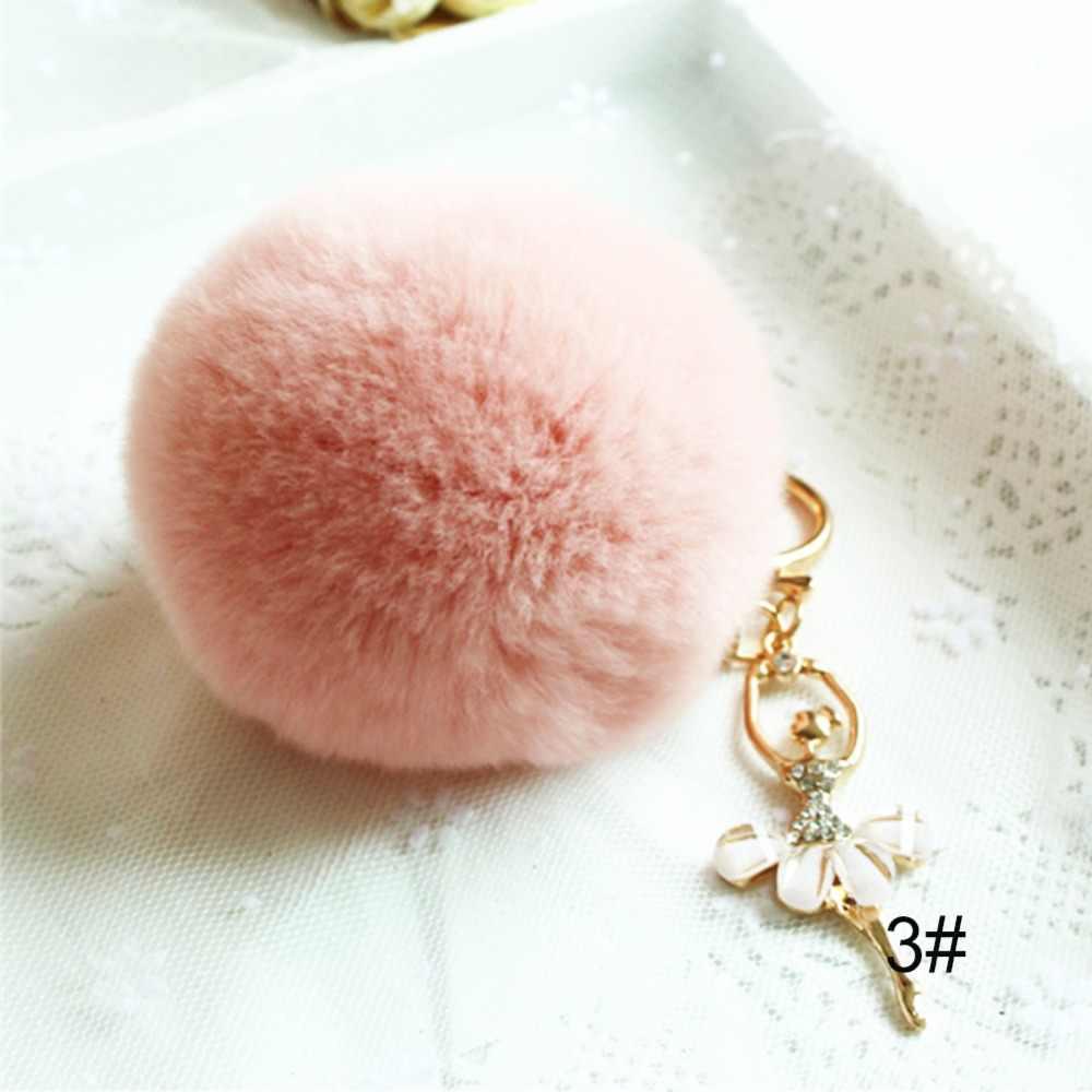 Adorável cristal ballet menina chaveiros dança anjo fofo puff bola pingente de pele chaveiro carro saco jóias pompom chaveiro #281743