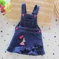 Moda dos desenhos animados mini vestidos de algodão denim para party girl dress jean bandage vestidos da menina bonito do bebê