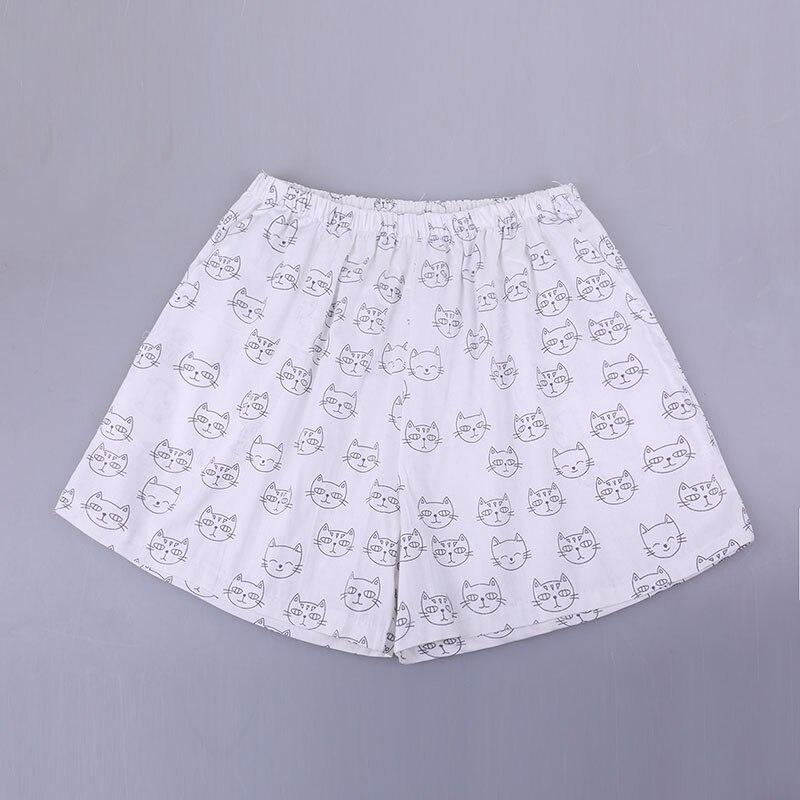 UNIKIWI. Милые летние хлопковые Пижамные шорты для сна, женские свободные пижамные штаны с эластичной резинкой на талии размера плюс M-XL отдыха. 21 цвет - Цвет: 009