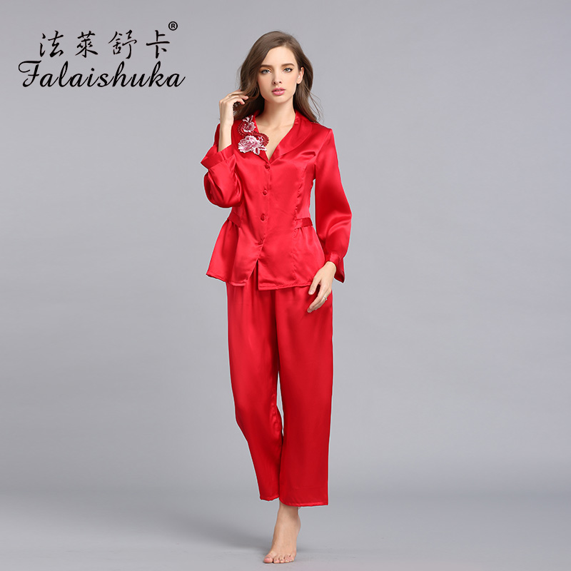 women silk stain pajama sets red long sleeve summer women's sleep&lounge fashion casual solid color pink sleepwears