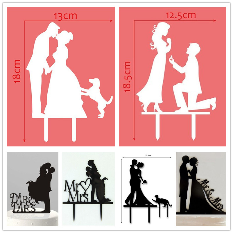Multi Styles Love Familie Acryl Kuchen Flagge Topper Mr & Mrs Braut Kuchen Flaggen Für Hochzeitstag Party Kuchen Backen Decor