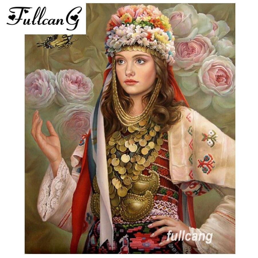 FULLCANG full square diamond embroidery beautiful woman diy diamond painting cross stitch 5d mosaic needlework kits D212
