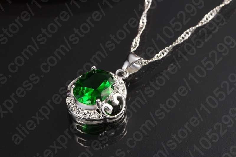 925 Sterling Silber Beste Qualität Grün Cubic Zirkon Kristall Mode Schmuck Sets Anhänger Halskette Ohrringe Ring