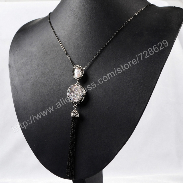 New Fashion! Round Natural Agate Titanium AB Druzy and Natural Pearl Tassel Necklace Paved Zircon Black Chain JAB160