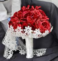 Handmade Wedding Bouquets Floral Bridal Bridemaid Bouquet Red Real Touch Rose Flower Artificial Flowers Wedding Home Decoration