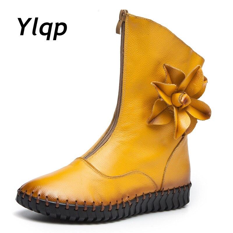 bc150bc8bd1de Tasarımcı Ayakkabı Kadın Lüks 2018 Kar Botları Moda Çiçekler Düz Martin  Çizmeler Marka Tasarım Retro El