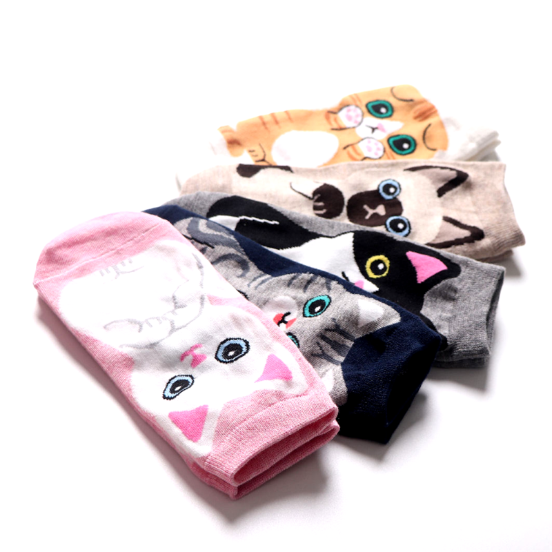Wholesale Cartoon Animal Print Ladies Cotton Socks Cute Cat Socks Funny Student Socks Pink Fuzzy Socks