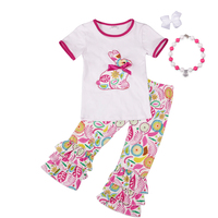 Easter Baby Girls Print Pink Bunny Embroidery Cotton Boutique T Shirts Clothing Ruffles Pants With Necklace