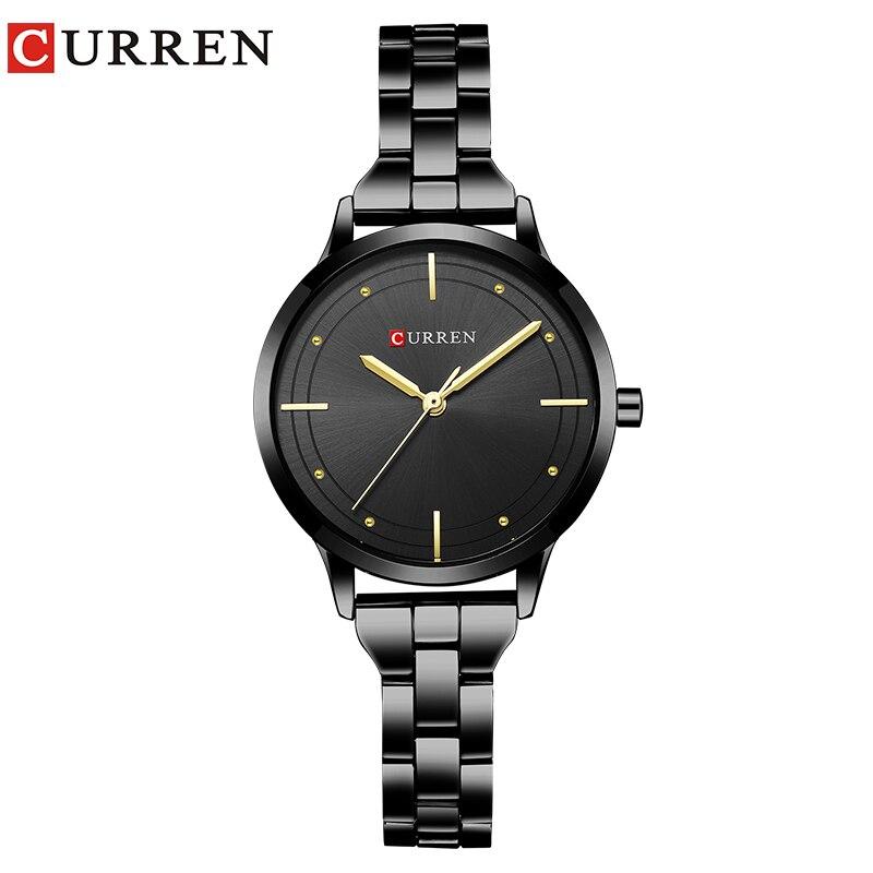 CURREN 2018 Fashion Women's Wrist Watches with black Watchband Top Luxury Brand