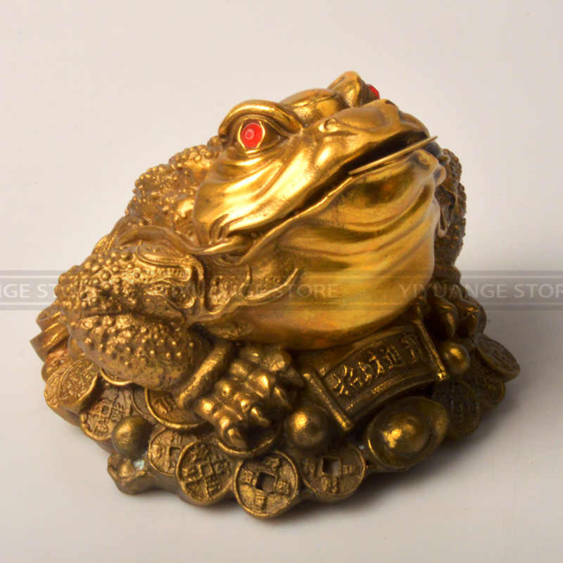 Chinese Brass Money Wealth Frog Three Legged Toad Statue Gift