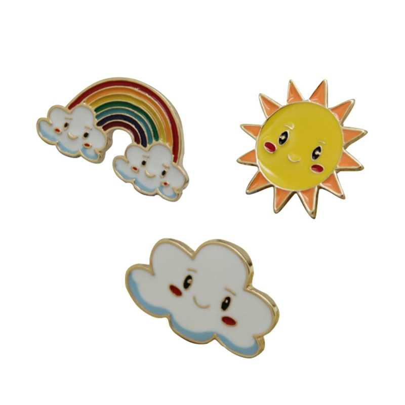 2018 New Fashion Cartoon Sweet Sun  Rainbow Cloud  Metal Brooch Pins Wholesale