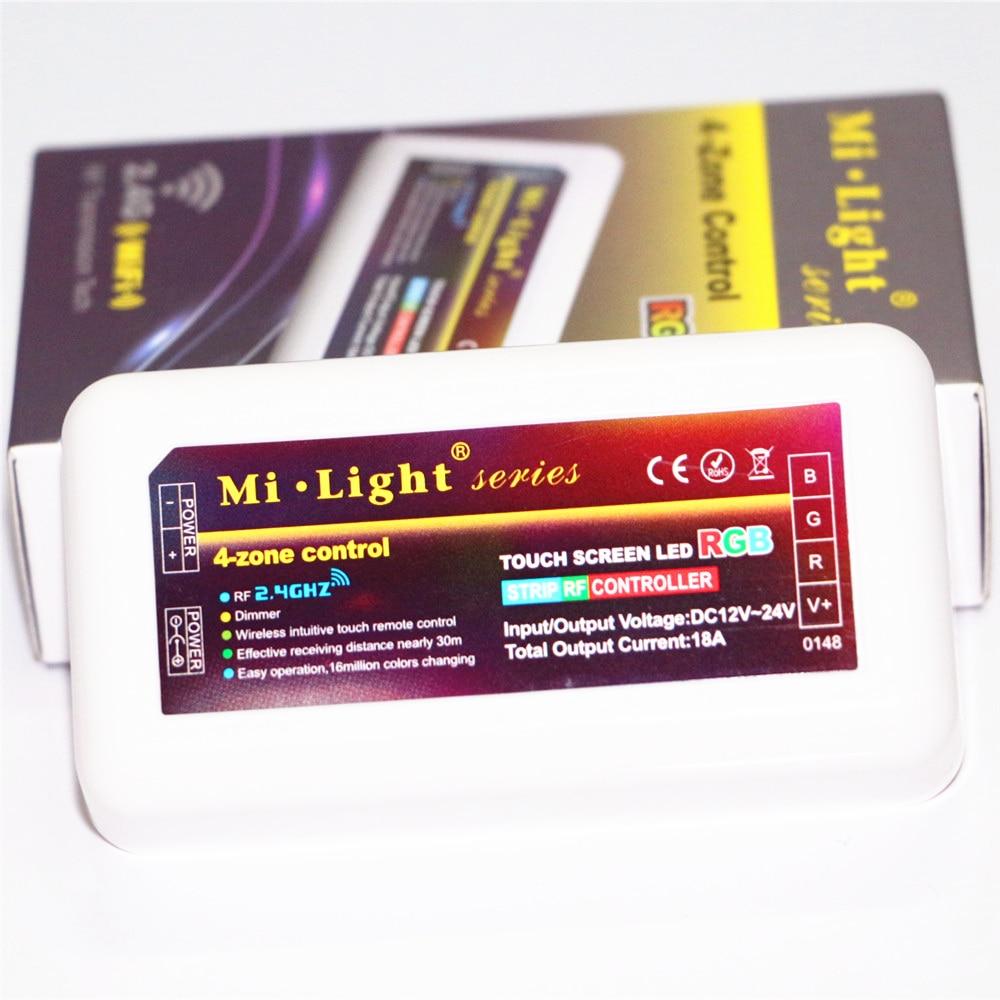 Mi licht dc12v 24v 2.4g draadloze rf rgb led afstandsbediening + 4 stks 3 manier Kanaals 4 Zones 18A Controller + 1 Stks 5 V WiFi Controller Doos - 4