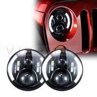 Black 7 LED Headlight Headlamp For Jeep Wrangler 7 Round LED Ring Halo Angel Eye Headlights