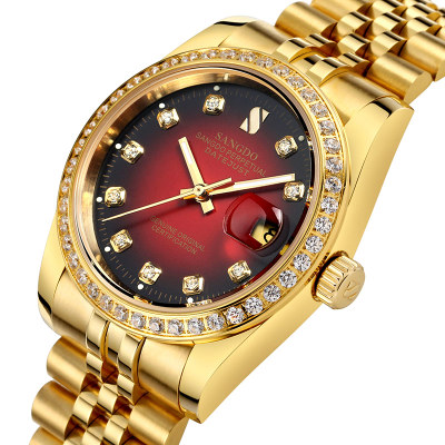 SANGDO watch men Luminous gold Stainless steel Automatic mechanical gold waterproof calendar wristwatch relogio masculine