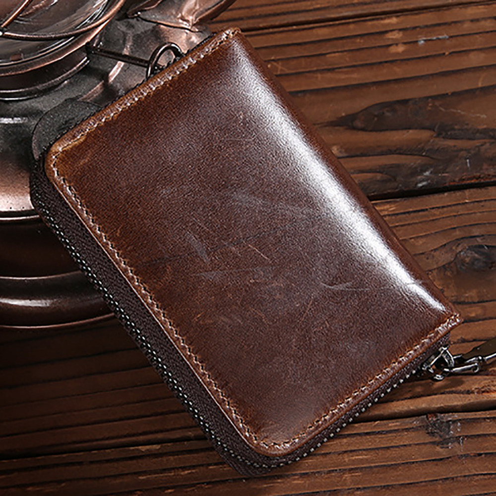 Real Genuine Leather Men Short Wallet Coin Pocket Credit/ID Card Holder Zipper Bifold Purse Vintage Male Clutch Money Bag цена и фото