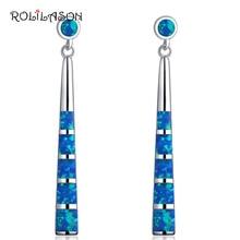 ROLILASON, трендовые серьги для женщин, синие огненные серьги в виде капель с опалом, 925 серебряные серьги, свадебные ювелирные изделия OE736