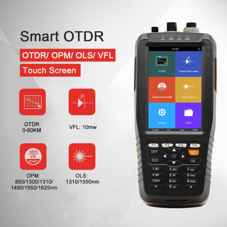 OTDR Tester Optical Time Domain Reflectometer 4 in 1 OPM OLS VFL Touch Screen 3m per 60km Gamma strumento ottico fibra optica