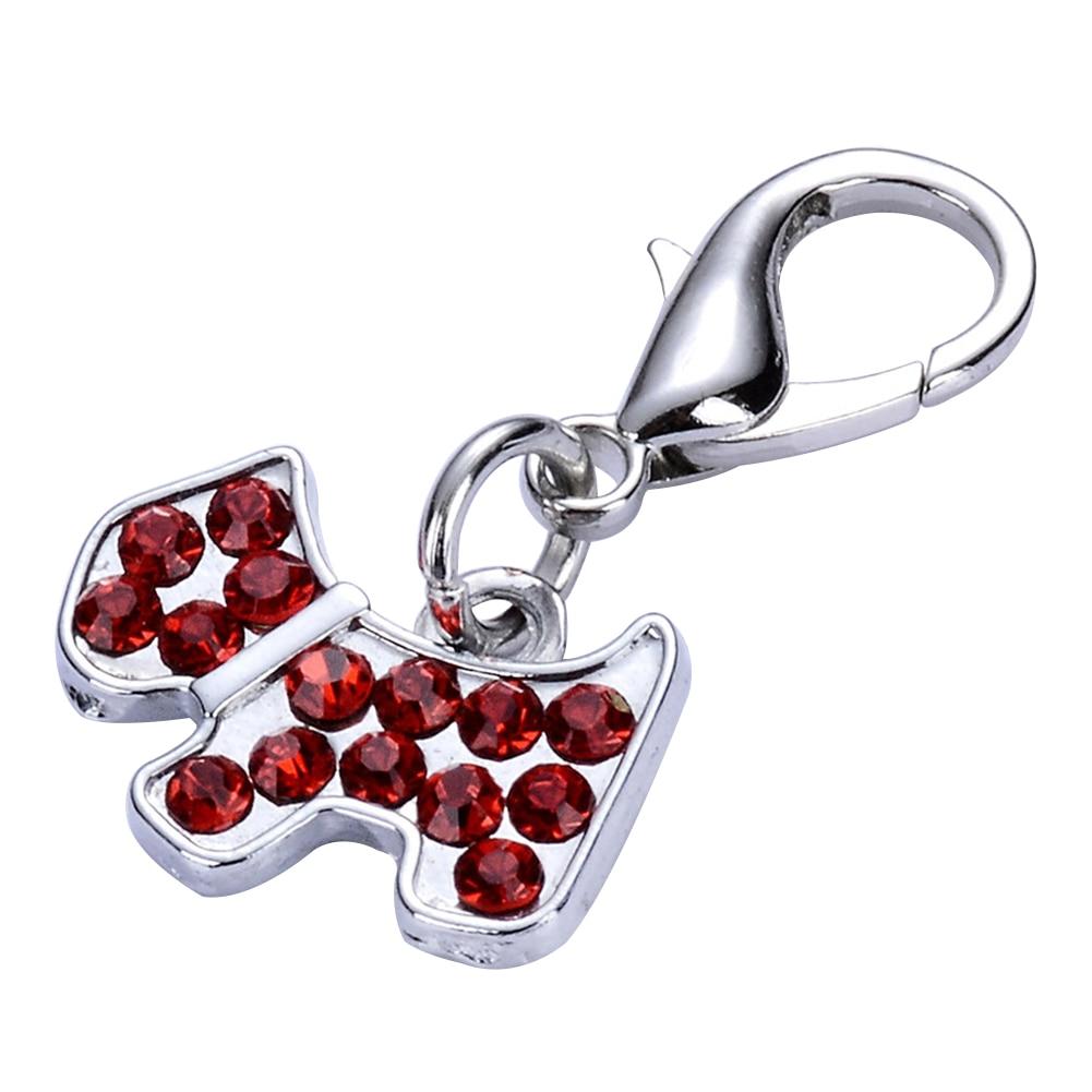 Lovely Pet Necklace Pendant DIY Rhinestone Inlaid Dog Cat Safety Keyring Jewelry