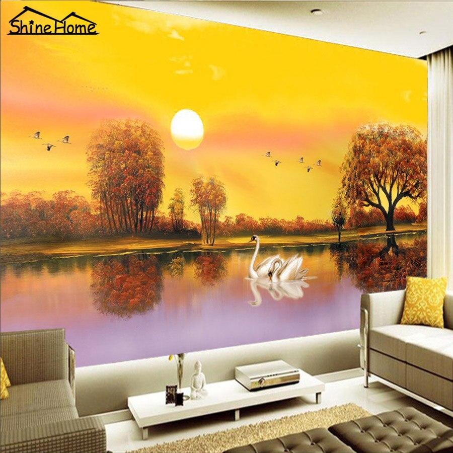 Bon Romantique Swan Amour au Coucher Du Soleil Lac 3D Papier Peint au Mur 3  d Plancher Photo Papier Peint pour Salon Mural Rolls Accueil Decal 126c4ec00658