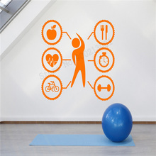 Wall Art Sticker Healthy Lifestyle Room Decoration Gym Fitness Sports Decal Beauty Mural Modern Life Ornament LY417