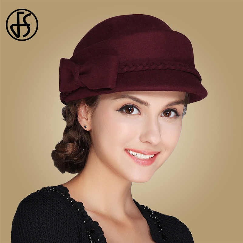 671be7ddbaf64 FS Women Bowknot Hats 100% Wool Autumn Winter Beret Caps Warm Felt Fedoras  French Berets