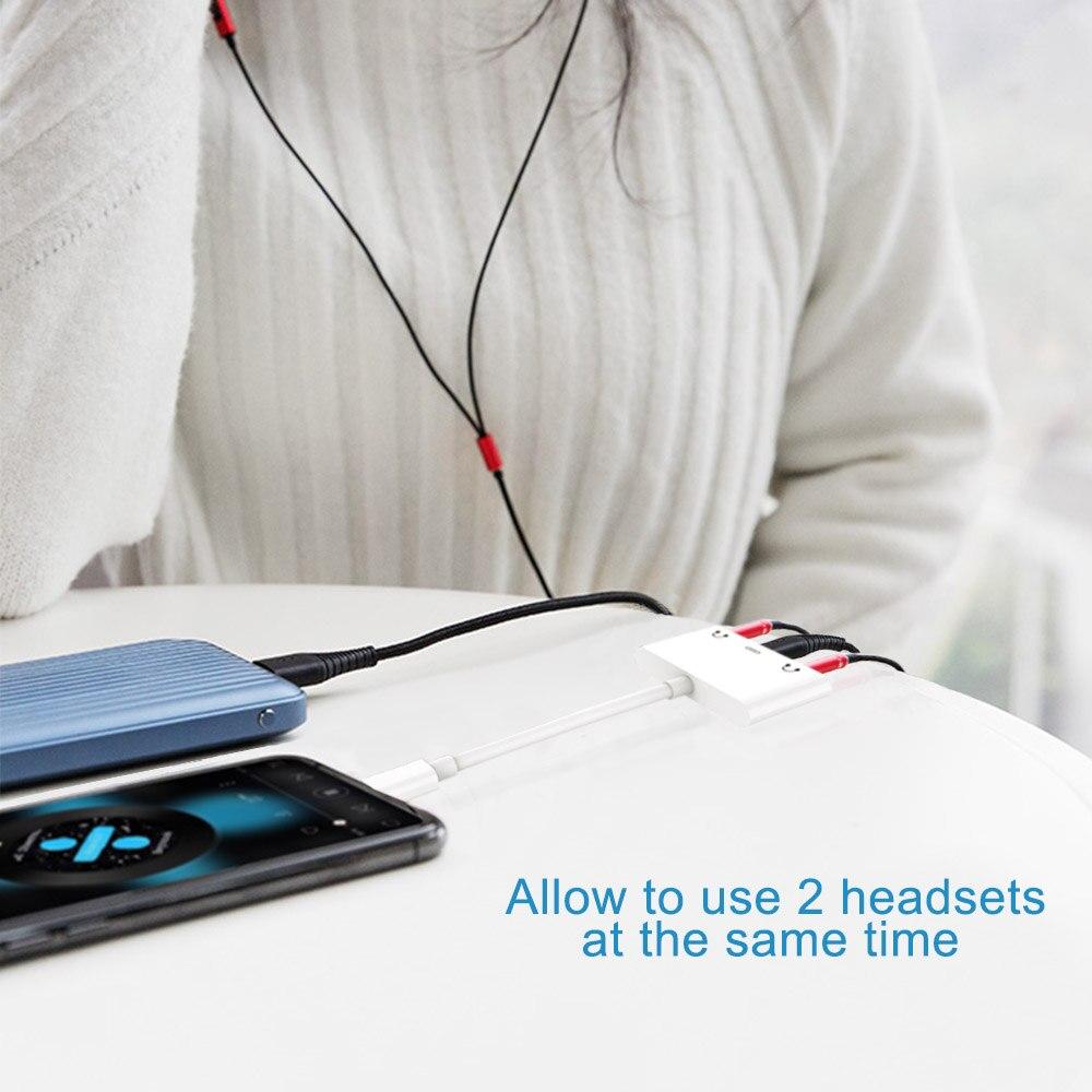 10X adaptateurs de répartiteur Audio pour la foudre à double prise Aux casque DC3.5mm avec Port de charge lumineux pour iPhone X/XS/8 P/7 - 6