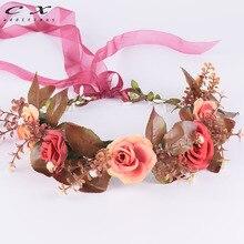 CXADDITIONS Rose Flower Crown Headwrap Ribbon Adjustable Hairband HeadBand Wreath Tiaras Wedding Headpiece Bridesmaid Christmas