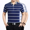 High quality men's summer fashion striped short sleeve cotton polo shirt
