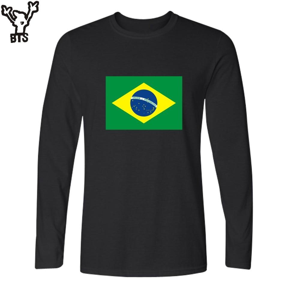 BTS Brazil Flag Winter Long Sleeve Cotton Tshirt Men Canadian White Casual Funny Men T-shirt Spain High Quality Black Tees