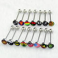 1PC New Fashion Stainless Steel Logo Tongue Piercing Ring Body Jewelry