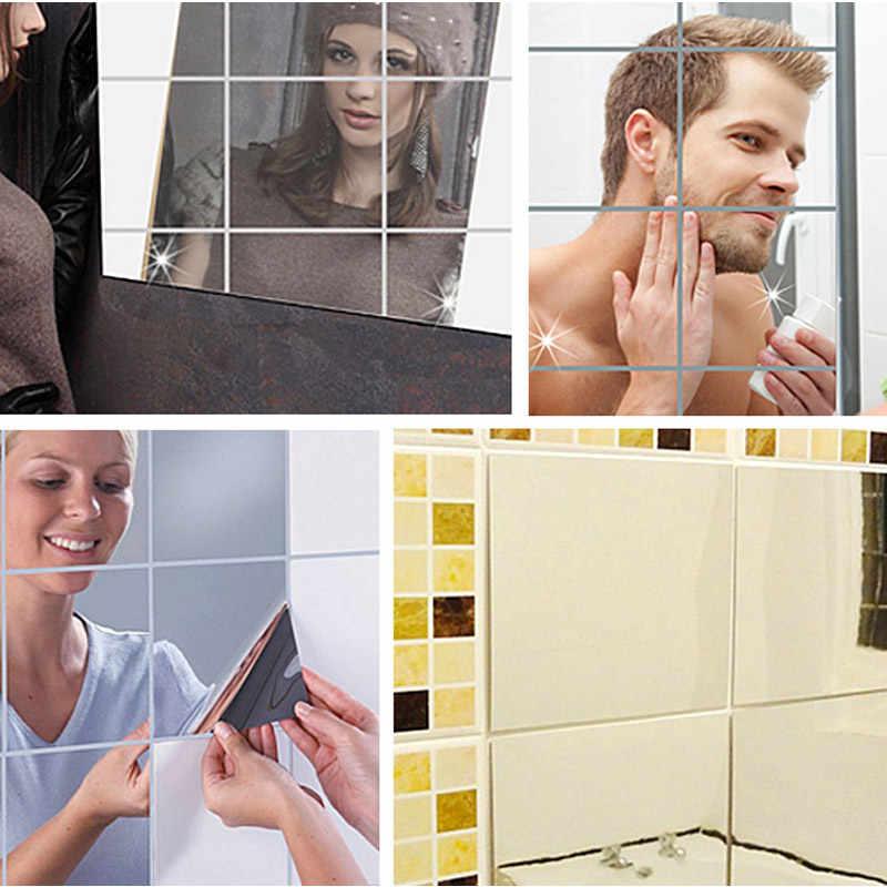 32 sztuk PET lustrzane dekoracyjne naklejki lustro naklejka ścienna na płytki kwadratowe samoprzylepne wystrój salonu Stick On Modern Art MDD8