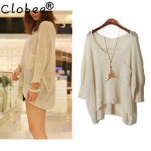 1199f57f75 Tops Autumn Long sexy ripped Sweaters 2019 Batwing Sleeve knitted tricot  Cheap Wool Sweaters Jumper Female summer pullover CH423