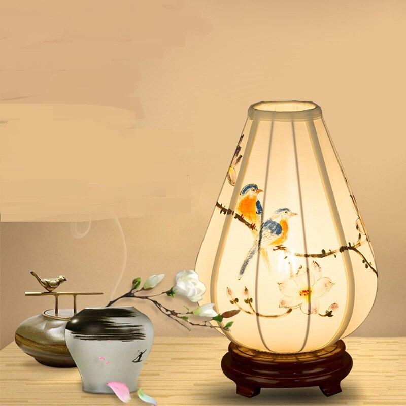 Китайский стиль настольная лампа прикроватная тумбочка для спальни твердой древесины ткань ручная роспись фонарь модель кабинет вход наст...
