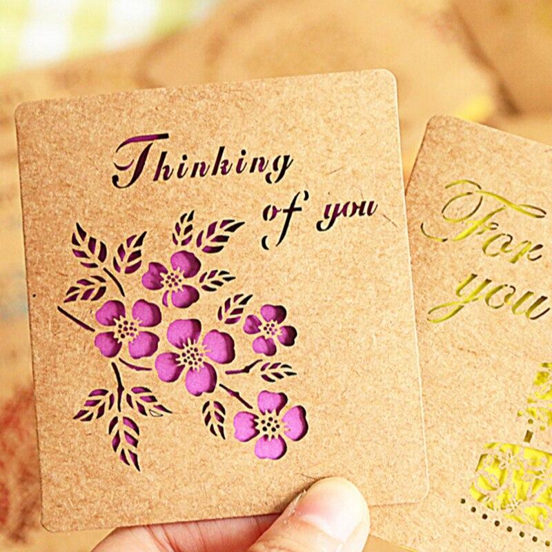 message carte de voeux ᐂ15 pcs/lot Délicat Évider Kraft Papier Créatif Carte De Voeux