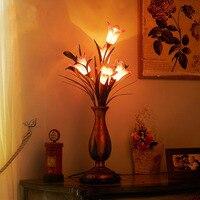 Американский цветок Романтические свадебные настольные лампы спальня ночники простой современный творческой личности декоративные лампы...