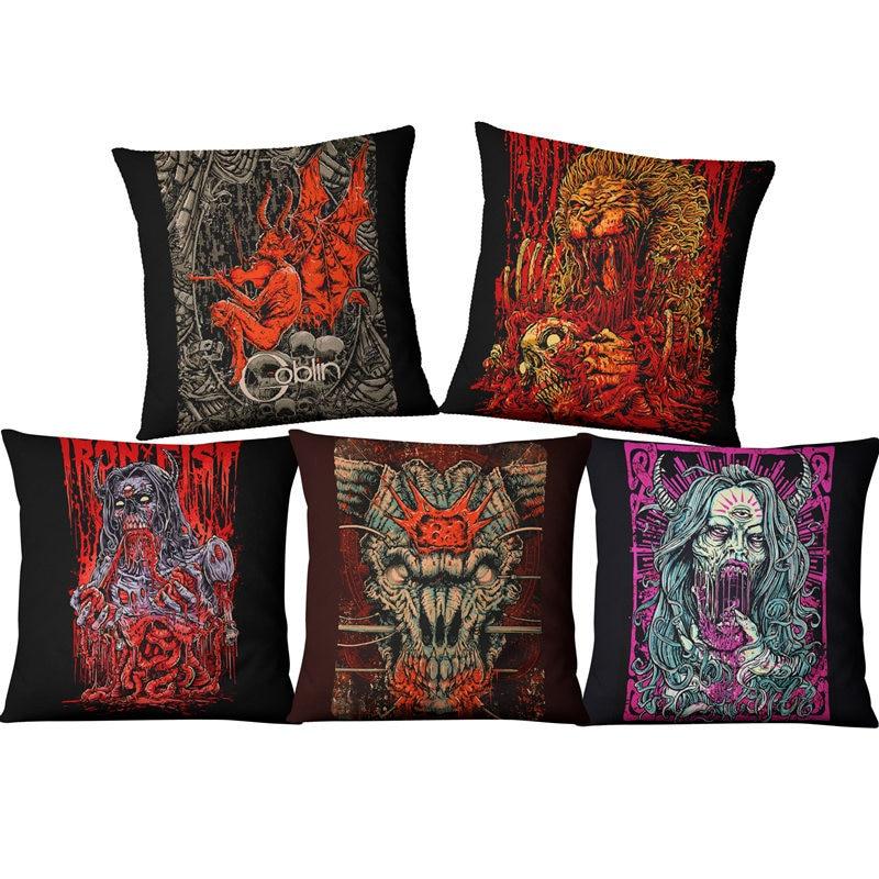 Terror devil Pillowcase Punk Bohemia Paisley Skull Cushion Cover Cotton Linen Size 45*45 Printed Throw Pillows Decorative Cojine