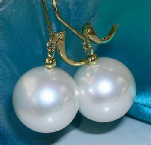 10-11mm AAA White South Sea Pearl Round Earrings >>ePacket jewerly Store free shipping