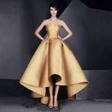 Gold Long Dress Formal Lace Robe De Soiree Off Shoulder Elegant Pageant  Dress Applique Pleat Party Dresses Vestido De Festa 0fcf0998a50e
