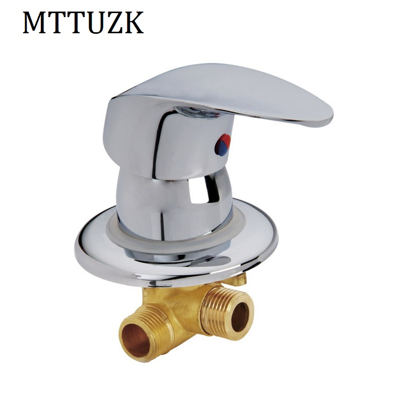 цена на MTTUZK wall mounted 2 inlet 1 outlet water brass shower room mixer faucet separate bathroom shower faucet hot &cold mixing valve