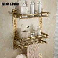 Bathroom antique double brass bathroom shelf 40cm amtique brass towel holder bathroom shelf with hooks for bathroom holder
