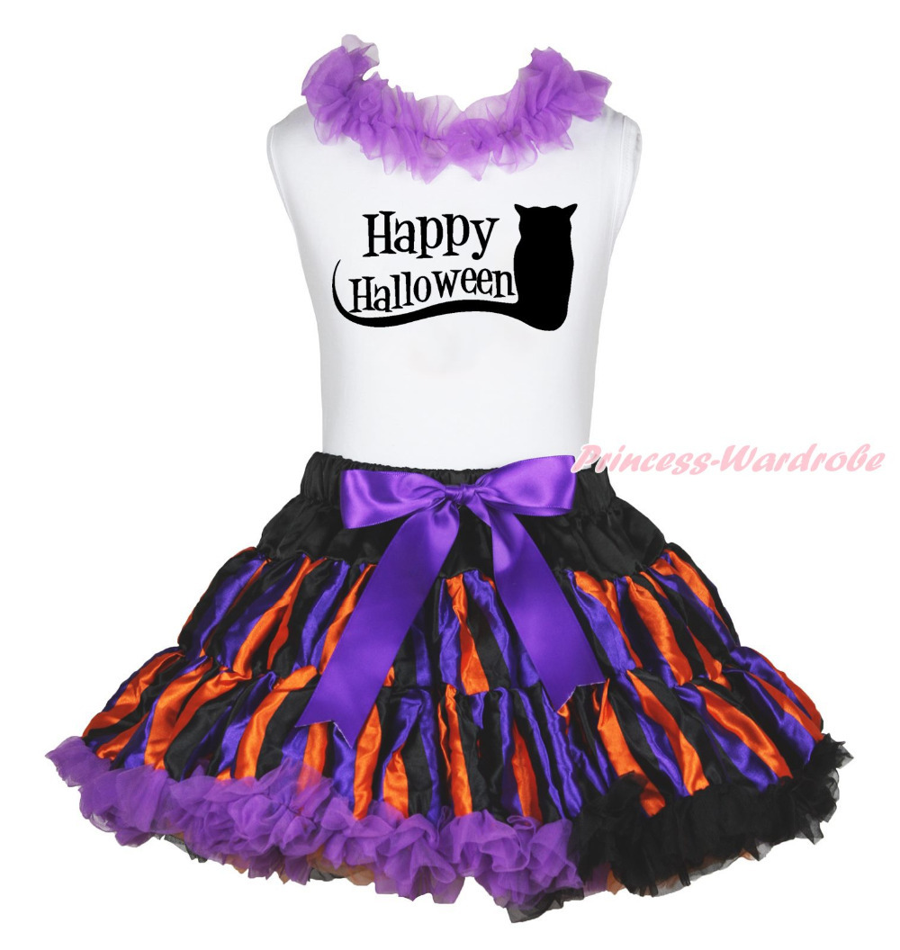 White Top Shirt Cat Happy Halloween Stripe Pettiskirt Skirt Girls Outfit 1-8Year MAPSA0851 halloween rhinestone cat white top dusty pink skirt girls cloth outfit set 1 8y mapsa0785