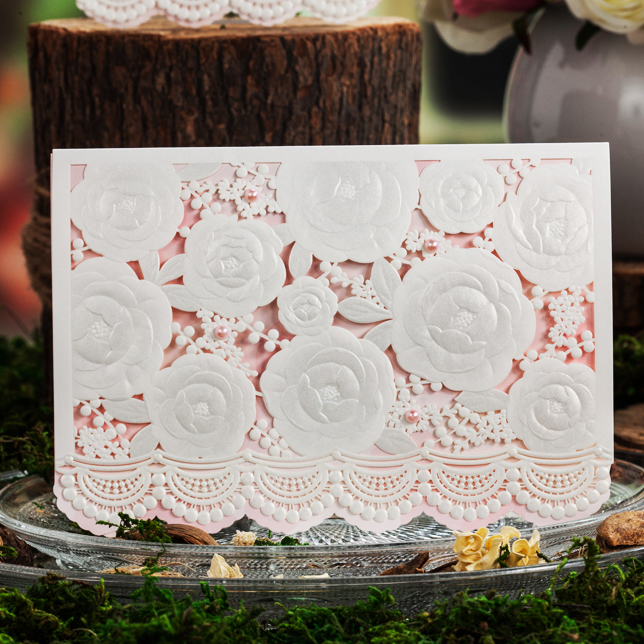 Design Lace Floewr Pattern Bumps Laser Cut White Wedding Invitations Kit Paper Blank Printing Invitation Cards Convite Casamento square design white laser cut invitations kit blanl paper printing wedding invitation card set send envelope casamento convite
