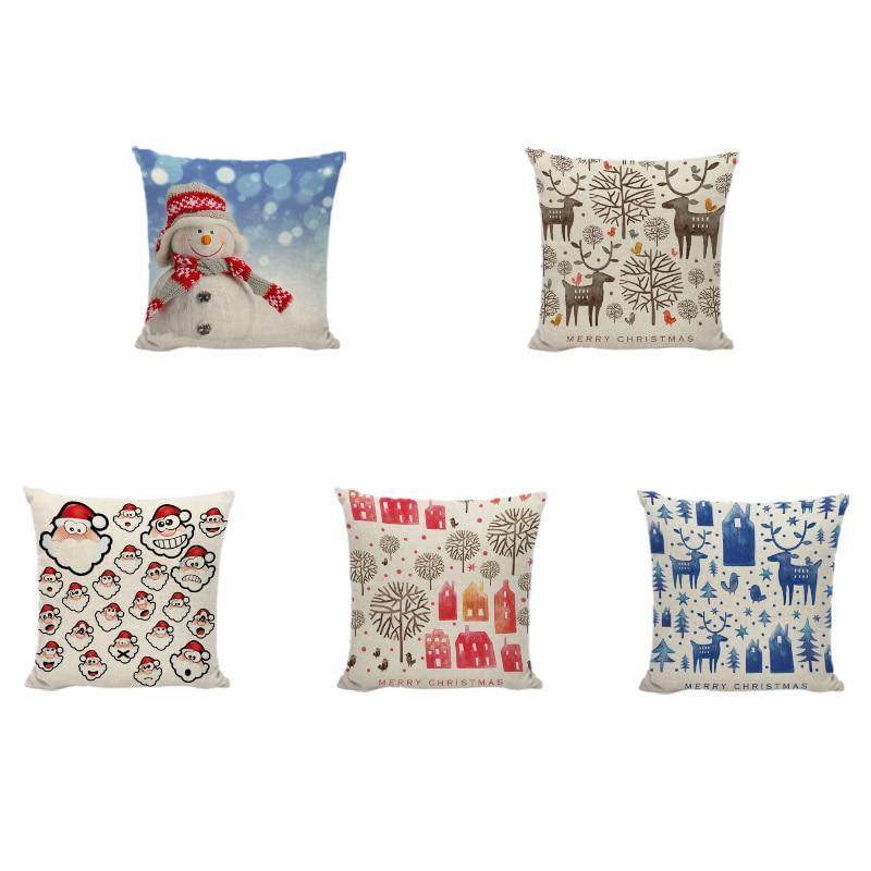 Christmas Elk Cushion Cover Santa Sleigh Snowman Pillow Case Kid New Year Gift Family Li ...