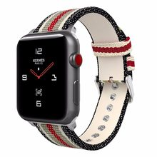 Repuesto de nailon con hebilla para apple watch series 5 4 3 2 1 Correa tejida Tipo Tela para iWatch 42mm 44mm 40mm 38mm(China)