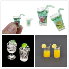 Miniature Dollhouse Kitchen-Accessories Decoration Food Resin 1:12 Toy Cups Gifts Ice-Lemon-Water-Drink-Cup