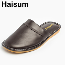 2017 Winter Lederen Slippers Mannen PU Slippers Luxe Basic Thicken Indoor Slipper Thuis Schoenen Platte Warme Slippers Waterdicht 8833